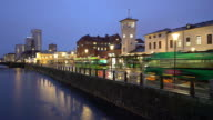 Time-lapse Malmo Cityscape downtown at night twilight in Sweden video