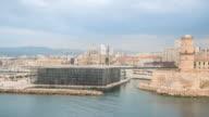 Time-lapse: Marseille city Vieux Port and Cathedrals La Major video