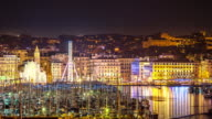 Time-lapse: Marseille city with old Vieux Port night video