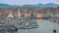 4K Time-lapse: Marseille city with old Vieux Port sunset video