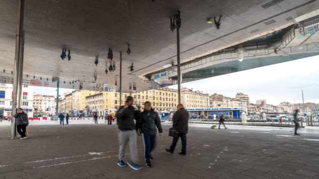 Time-lapse: Marseille crowded at old Vieux Port metro station video