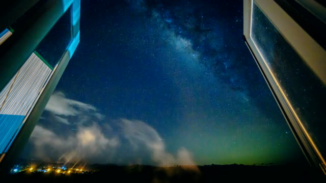4K Timelapse Milky Way and Meteor Shower look over window on August 13, 2017 video