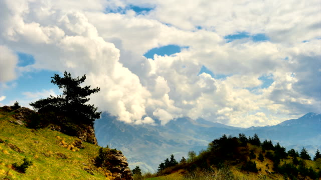 'TimeLapse': Mountain Cloudy Sky and the Lonely Tree. video