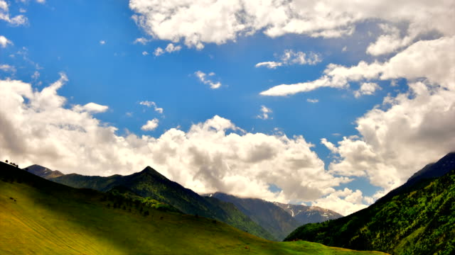 'TimeLapse': Mountain landscape with running clouds and blue sky. video