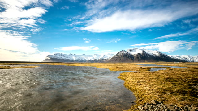 HD time-lapse: mountain range in Southern Iceland Jokulsarlon video