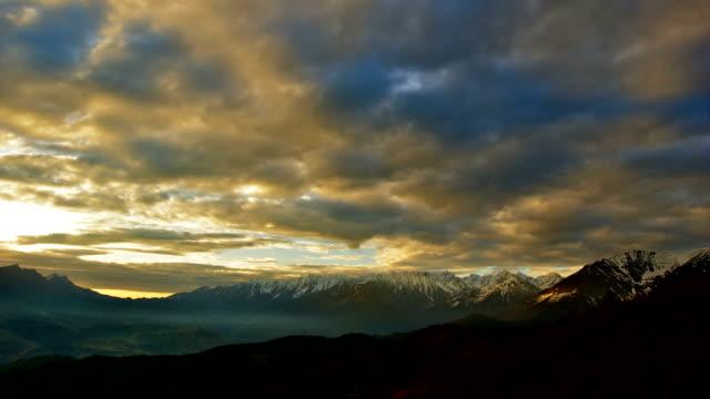 'TimeLapse': Mountain Sunrise Cloudy Sky Nature Landscape Panorama. video