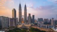 Timelapse Movie Sunset of Petronas towers, Kuala Lumpur, Malaysia video