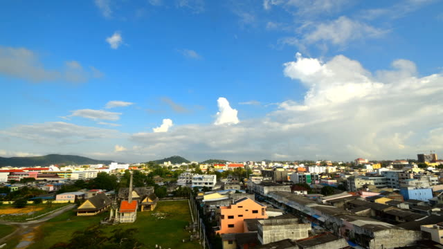 Timelapse moving clouds over Songkhla city and lake Thailand video