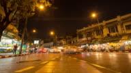 4K Time-lapse: Night flower market in Bangkok city. video