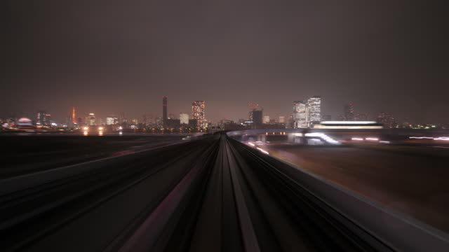 TImelapse -POV  Night Tram speeding through City video