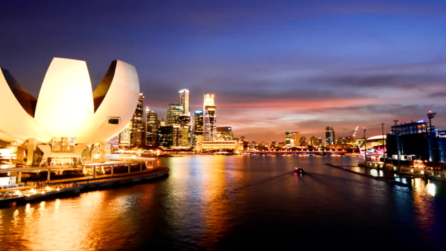 Timelapse Night view in Singapore Marina bay. video