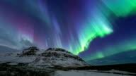 HD Time-lapse: Northern Light Aurora Borealis at Kirkjufell Iceland video
