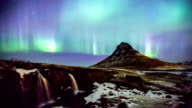 HD Time-lapse: Northern Light Aurora Borealis at Kirkjufell Iceland video