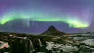 4K Time-lapse: Northern Light Aurora Borealis at Kirkjufell Iceland video