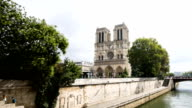 HD Timelapse: Notre Dame Cathedral at dusk in Paris, France - Stock Video video