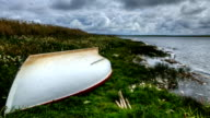Timelapse of a boat by a Loch in Orkney, Scotland video