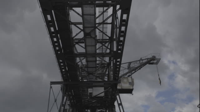 Time-lapse of a Construction Platform with a Grey Sky Above video