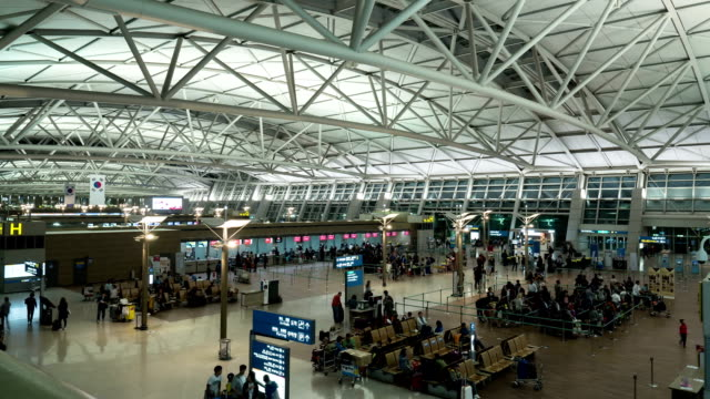 Timelapse of airport, seen people waiting for the flight video