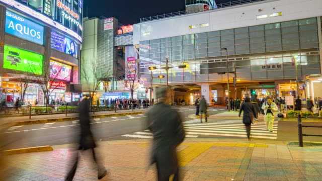 4K Time-lapse of Akihabara district in Tokyo, Japan. (zoom in camera view) video