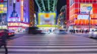 4K Time-lapse of Akihabara district in Tokyo, Japan. (zoom in camera) video