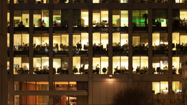 Time-lapse of an office at night video
