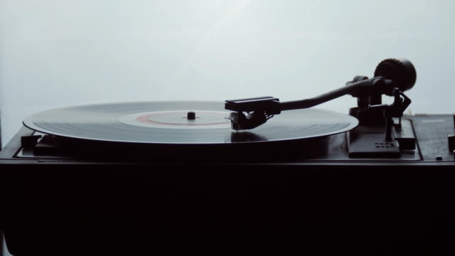 Time-lapse of an old vintage gramophone playing lp vinyl record video