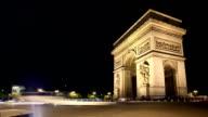 Timelapse of arc de triomphe in Paris video