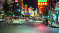 Timelapse of Bangkok city traffic in busy Chinatown at night video