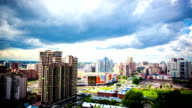 Timelapse of beautiful cloud and sky on cityscape background in Novosibirsk video