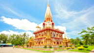 Timelapse of Chalong Pagoda Temple against cluod Phuket Thailand video