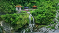 Timelapse of Changchun temple, Eternal Spring Shrine and waterfall at Taroko National Park in Hualien, Taiwan video