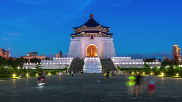 Timelapse of Chiang Kai-shek Memorial Hall  at night video