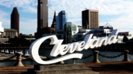 Timelapse of Cleveland lettering in front of Skyline video