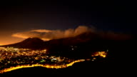 Timelapse of clouds moving over top of Table Mountain in Cape Town, South Africa. Night time, city lights video