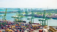Time-lapse of container in operations at Singapore video