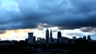 Timelapse of dark clouds over Cleveland at dawn video