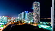 Time-lapse of Downtown Miami at night video