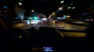 Timelapse of driving car in night city. Thessaloniki, Greece video