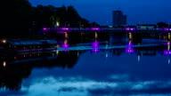 Time-lapse of evening bridge zoom shot video