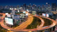 Time-lapse of Express way at bangkok city cityscape at night time , day to night time-lapse , Road way in bangkok city video