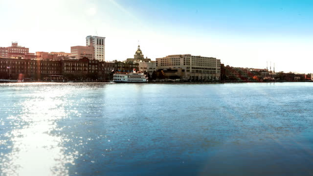 Timelapse of ferry boats at the historic River Street in Savannah video