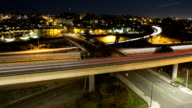 time-lapse of freeway overpass at night, long exposures video