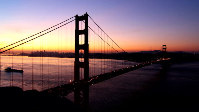Timelapse of Golden Gate Bridge while Sunrise video