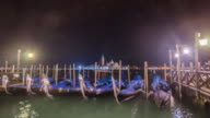 Time-lapse of Gondola port at Venice , Italy , night time video