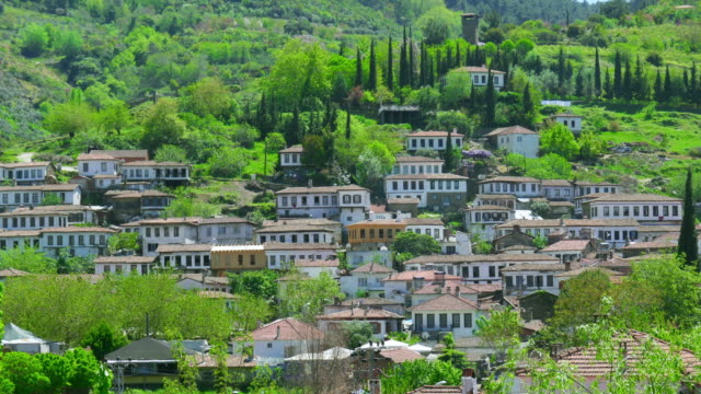 Timelapse of Historical White Houses, Sirince Village, Turkey, zoom in video
