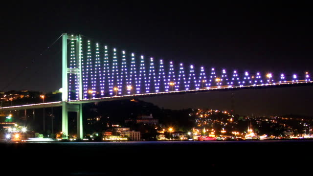 Timelapse of Istanbul's Colorful Bridge by Night video