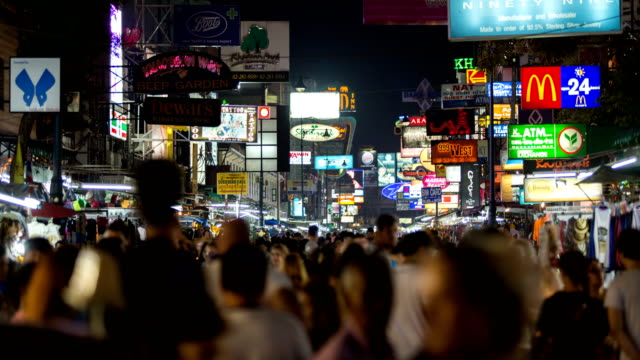 Time-lapse of Khao San Road in Night Time. video