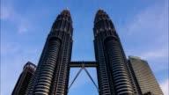 KUALA LUMPUR - February 2016 :Timelapse of Kuala Lumpur Twin Tower on February, 2016 at Kuala Lumpur City Center. video