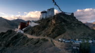 Timelapse of Leh Palace and Namgyal Tsemo Gompa with Prayer Flags at Sunset ,Ladakh province, India video