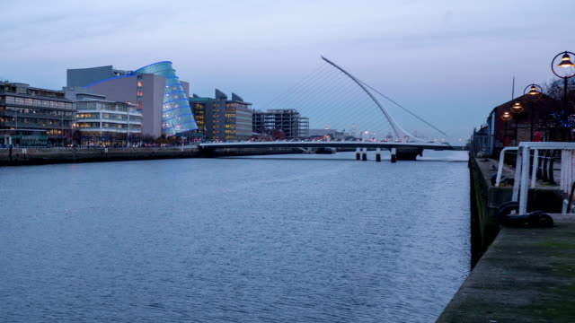 Timelapse of Liffey river in Dublin Ireland fixed camera video